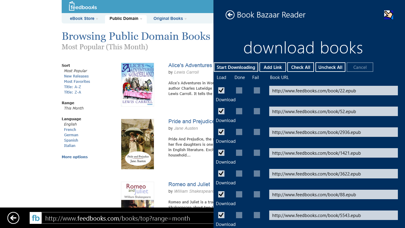Share books from the browser
